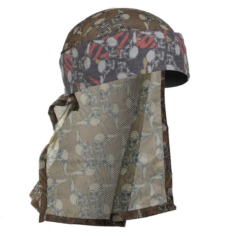 HK Army - Hostilewear Headwrap - Red Tan Skulls / Tan Skull Mesh