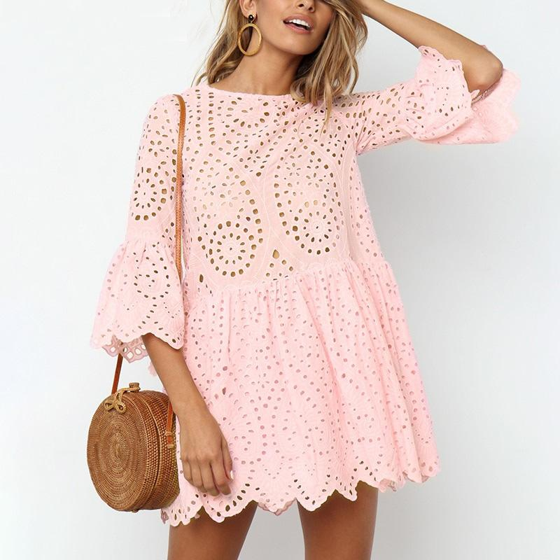 Hollow out Embroidery Lace Dress