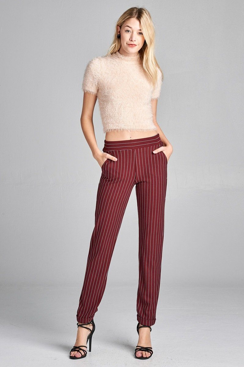 Elastic Waist With Pocket Striped Pants