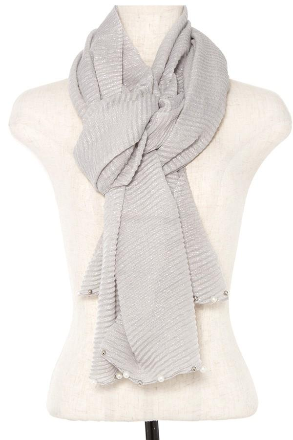 Pleated pearl and bead accent oblong scarf