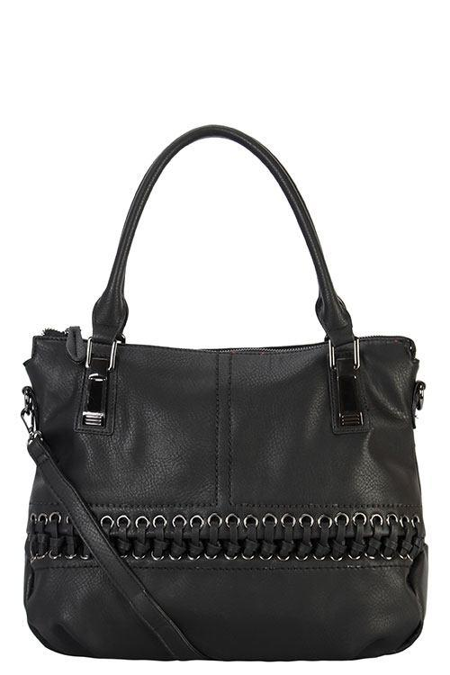 Designer braided accent tote bag