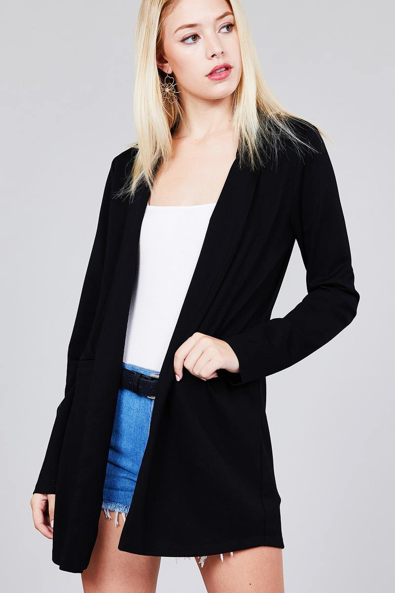 Jacket With Notched Collar And Pocket