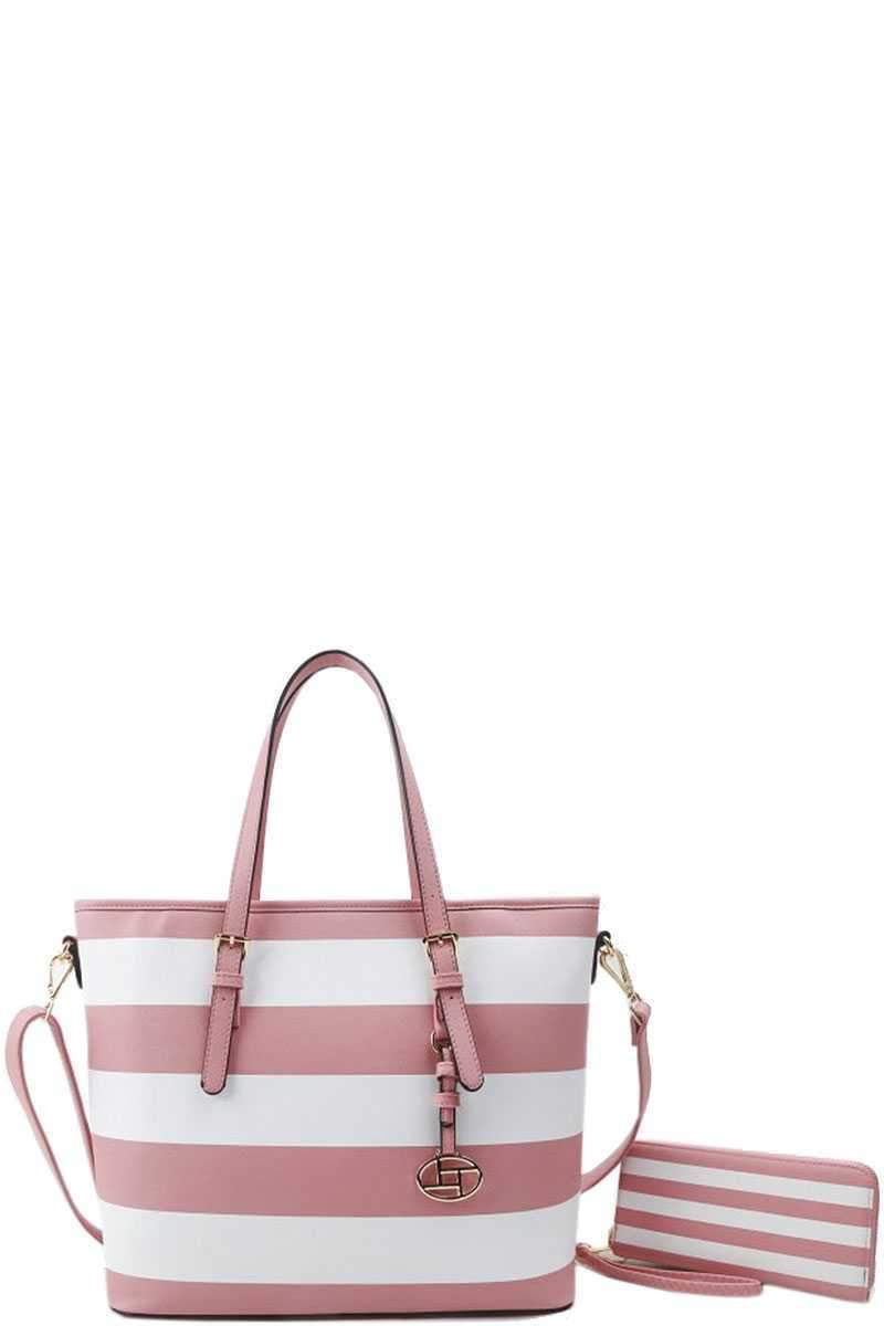 2 in 1 Modern Striped Shopper Bag With Matching Wallet