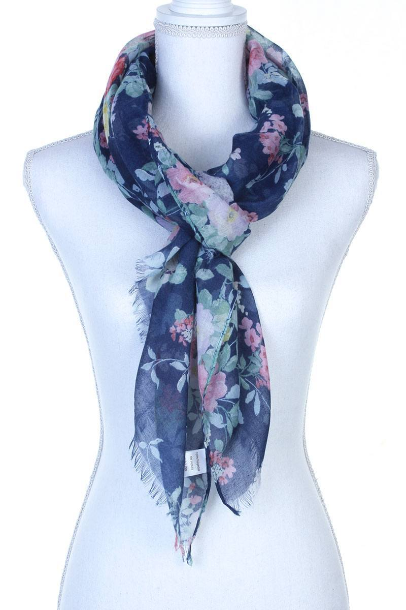 Floral Pattern Sheer Oblong Scarf