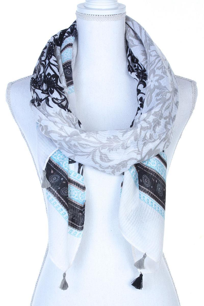 Filigree Pattern Tassel Trim Oblong Scarf