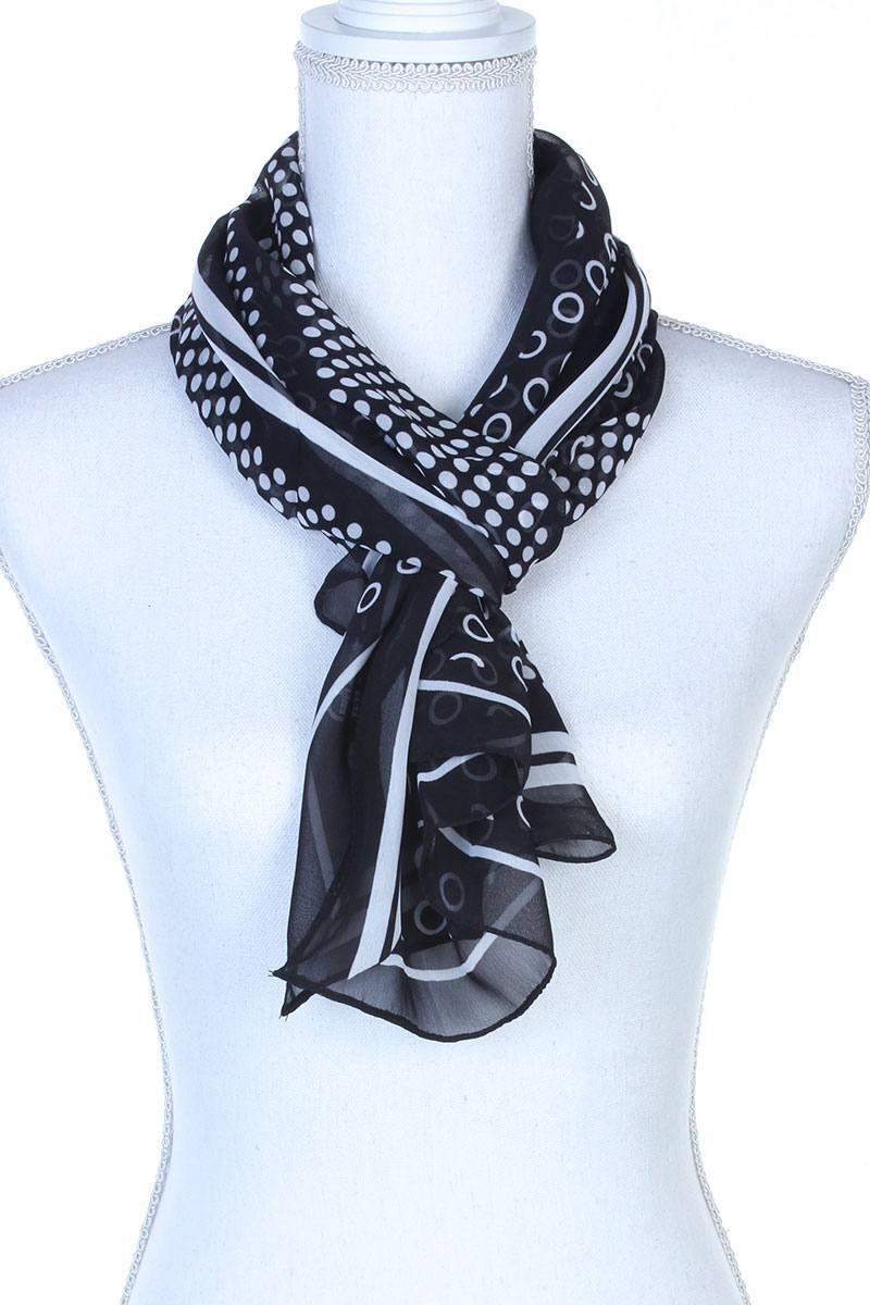 Polka Dots Pattern Sheer Oblong Scarf
