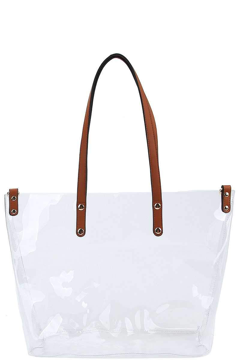 2 in 1 Hot Trendy Transparent Tote Bag With Long Strap