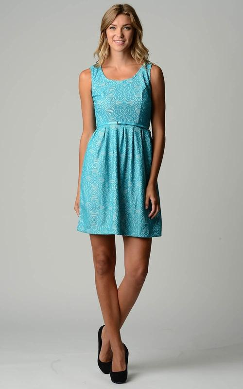 Belted Fit & Flare Lace Dress