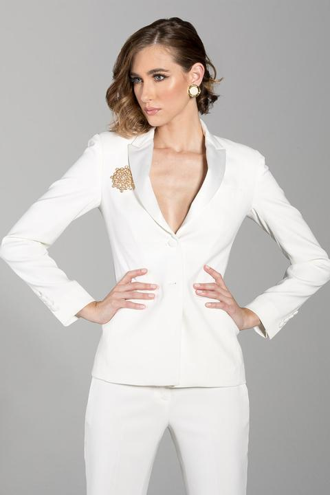Diamond White Peak Lapel Ladies Tuxedo Jacket - Miguel's Men's Wear