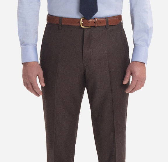 BROWN SHARKSKIN TROUSERS - Miguel's Men's Wear