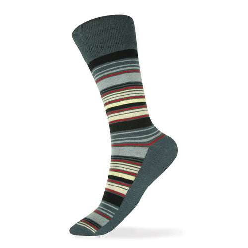 GREY, BLACK, SILVER, YELLOW, APPLE, CHAMPAGNE STRIPED SOCK - Miguel's Men's Wear