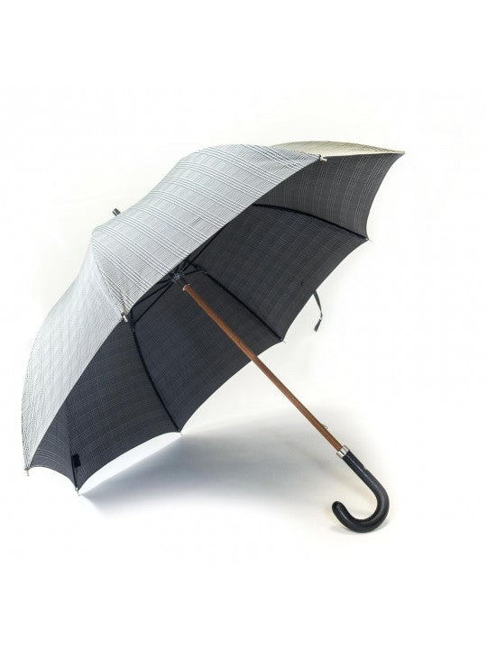 Black/White Glen Plaid Umbrella