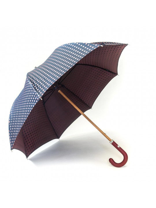 Navy/Maroon Medium Polka Dots Umbrella - Miguel's Men's Wear