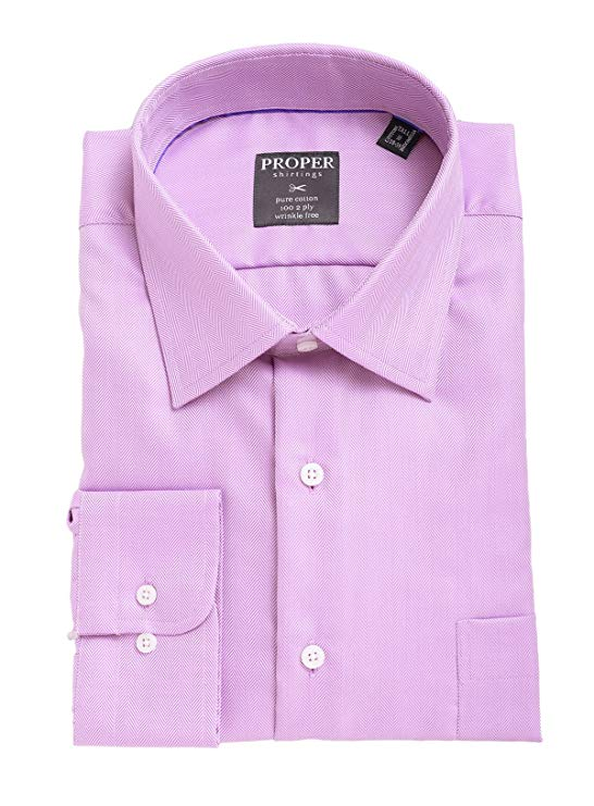 Purple Herringbone 100 2 Ply Wrinkle Free Cotton Dress Shirt - Miguel's Men's Wear