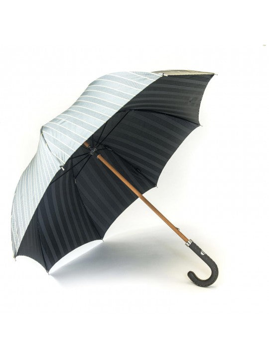 Mustard Pencil Stripes/Grey Fancy Stripes Umbrella - Miguel's Men's Wear