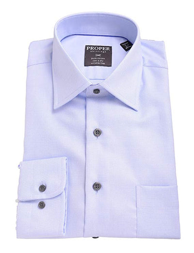 Solid Blue Spread Collar 100 2 Ply Cotton Dress Shirt - Miguel's Men's Wear