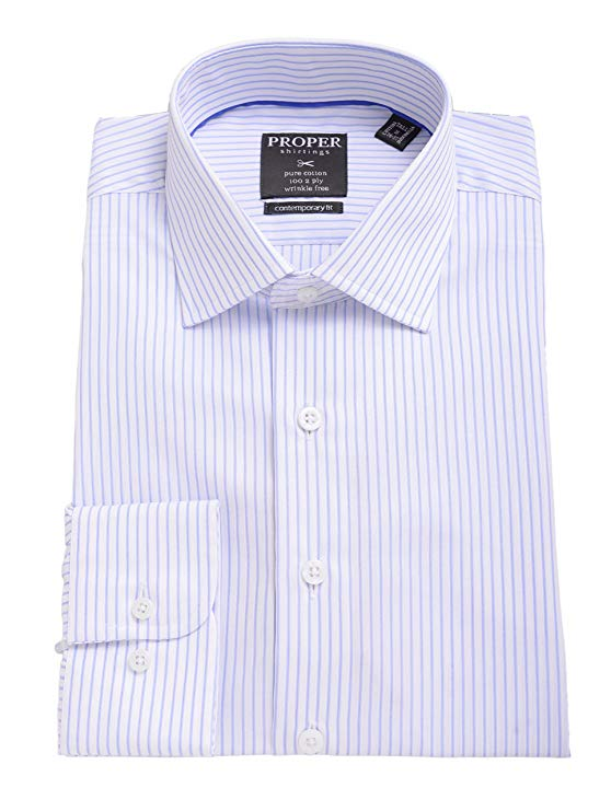 Blue Striped Spread Collar 100 2 Ply Cotton Dress Shirt - Miguel's Men's Wear