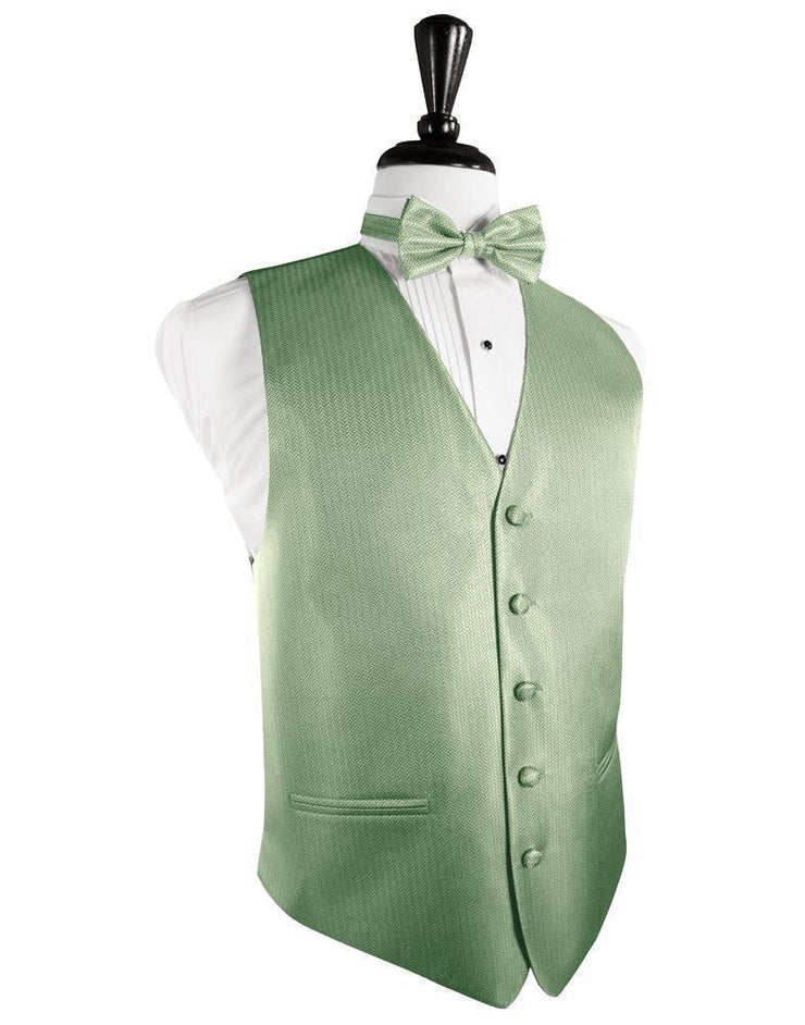 Mint Herringbone Formal Vest - Miguel's Men's Wear