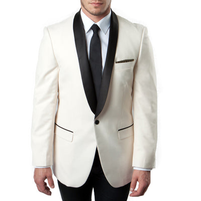 Ivory Wool Dinner Jacket With Black Satin Shawl Collar - Miguel's Men's Wear