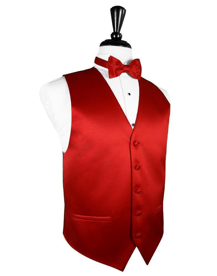 Scarlet Luxury Satin Tuxedo Vest - Miguel's Men's Wear