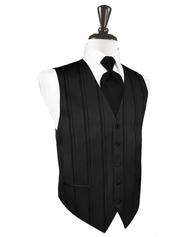 Black Striped Satin Tuxedo Vest - Miguel's Men's Wear