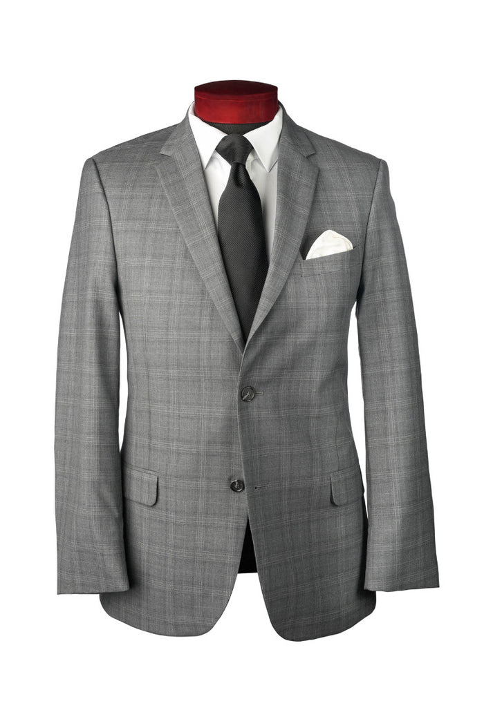 ULTRA SLIM GREY PLAID HAMILTON SUIT - Miguel's Men's Wear