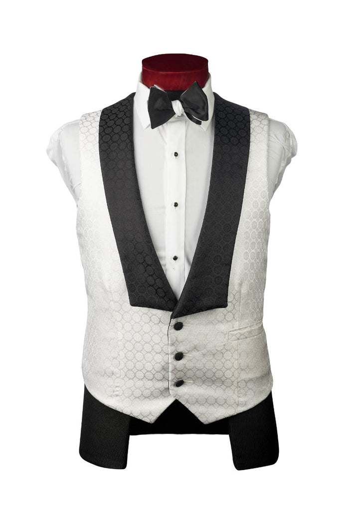 White Black Groom's Vest - Miguel's Men's Wear