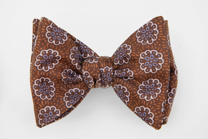 Purple Floral Print on Brown Bow Tie - Miguel's Men's Wear