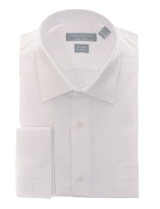 80's 2Ply French Cuff White Dress Shirt - Miguel's Men's Wear
