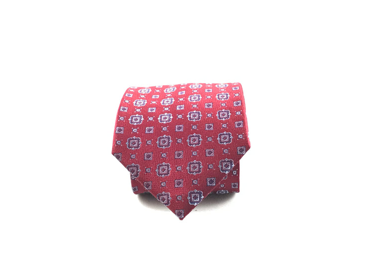 Red and Blue Medallion Silk Tie - Miguel's Men's Wear