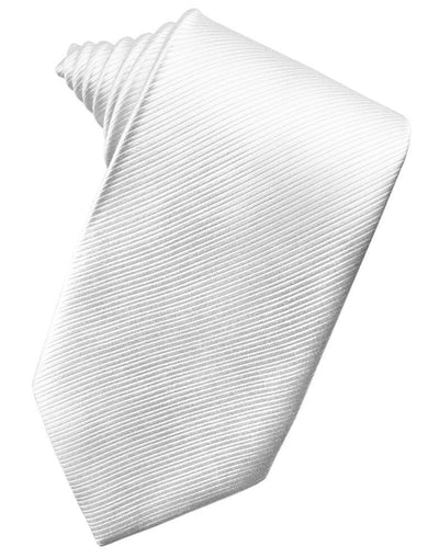 White Faille Silk Necktie - Miguel's Men's Wear