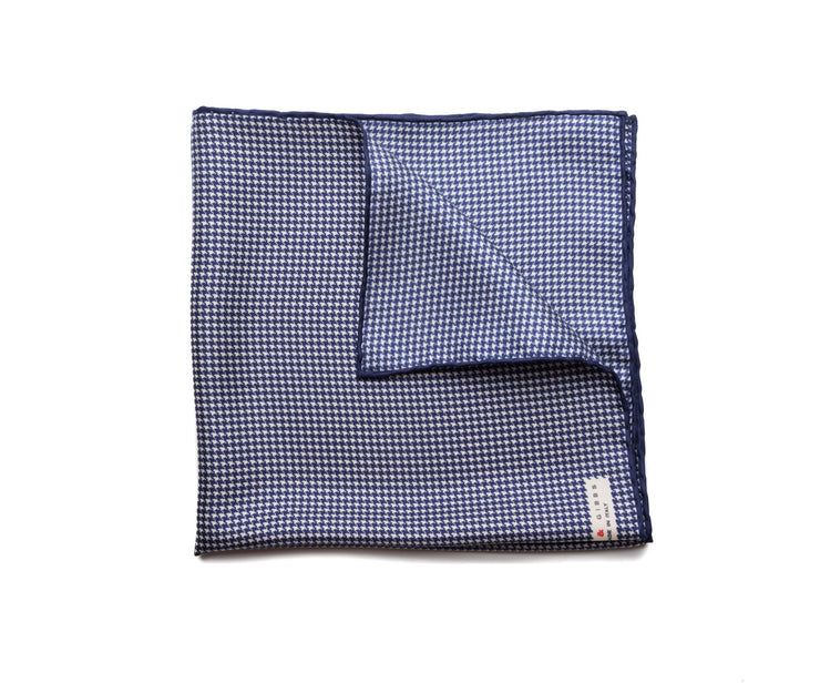 Pocket Square Navy - White Micro Houndstooth - Miguel's Men's Wear