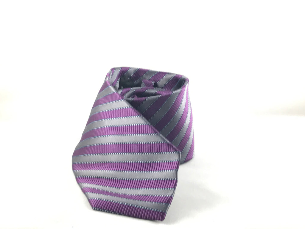 Purple Grey Stripe Silk Tie - Miguel's Men's Wear
