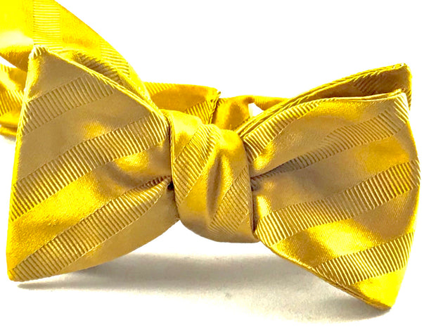 Gold Stripe Gross Grain Bowtie - Miguel's Men's Wear