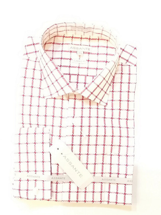 Red White Windowpane French Cuff Shirt - Miguel's Men's Wear