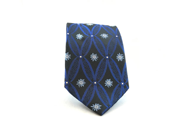Blue and Black Medallion Woven Silk Tie - Miguel's Men's Wear