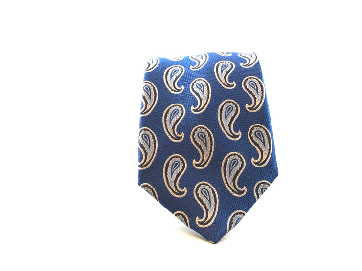 Blue and Whie Paisley Silk Tie - Miguel's Men's Wear
