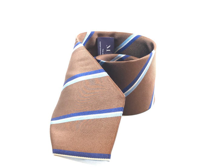 Brown and Blue Strip Silk Tie - Miguel's Men's Wear