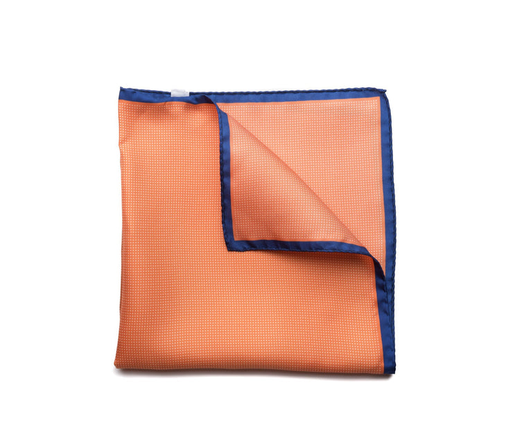 Pocket Square Orange - White Micro Dot - Miguel's Men's Wear