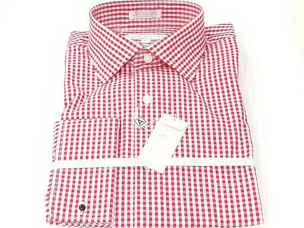 Red Check Pattern French Cuff Shirt - Miguel's Men's Wear
