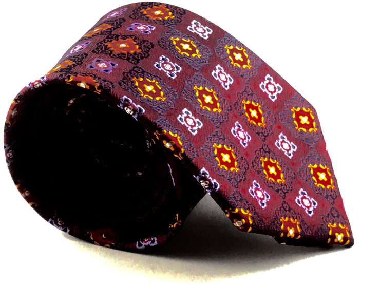 Burgundy  Medallion Silk Tie - Miguel's Men's Wear