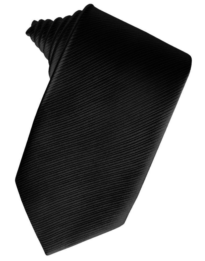 Black Faille Silk Necktie - Miguel's Men's Wear