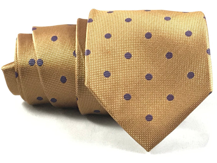 Gold With Purple Dot Silk Tie - Miguel's Men's Wear