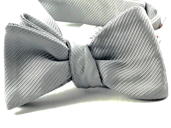Silver Gross Grain Bowtie - Miguel's Men's Wear