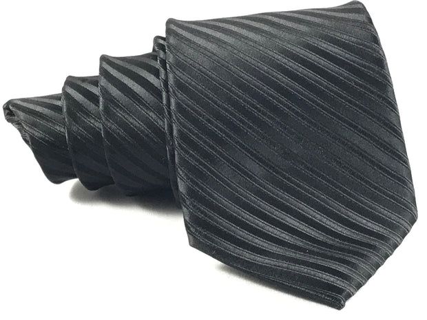 Stripped Black Formal Silk Tie - Miguel's Men's Wear