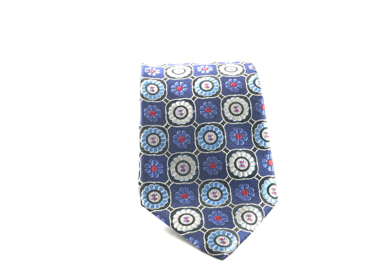 Blue and Silver Medallion Silk Tie - Miguel's Men's Wear
