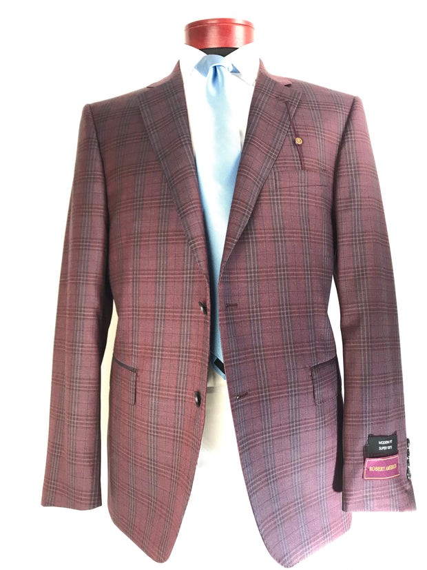 DAB119825 Burgundy Plaid - Miguel's Men's Wear