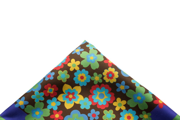 Pocket Square Brown - Retro Floral - Miguel's Men's Wear