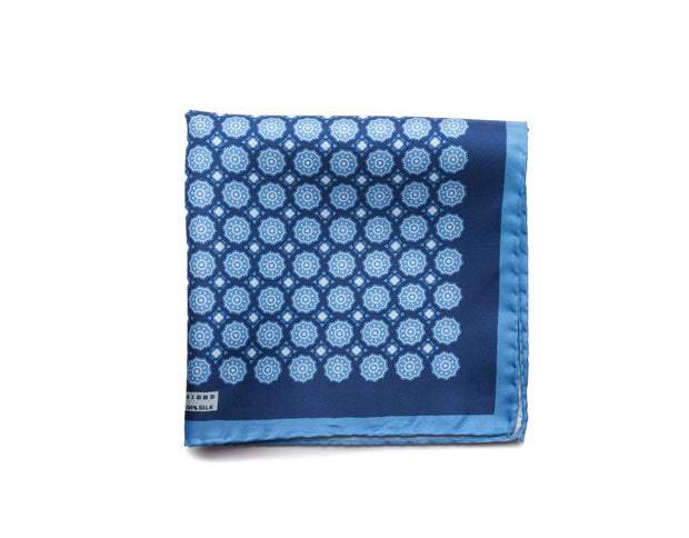 Pocket Square Blues Medallion - Miguel's Men's Wear
