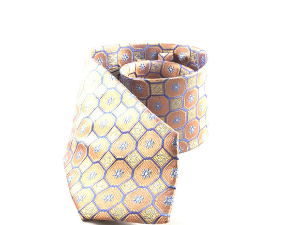 Orange and Gold Medallion Woven Silk Tie - Miguel's Men's Wear